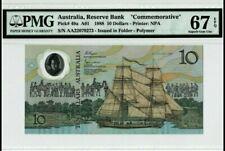 "1988 Australia $10 ""Commemorative"" PMG67 EPQ SUPERB GEM UNC <P-49a> Prefix AA"