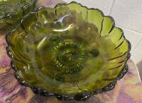 Vintage Indiana Glass Avocado Green Footed Salad Bowl  Sunburst