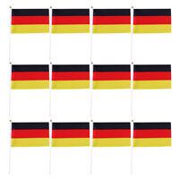 "12Pcs Olympic Hand Waving Germany German Flag German Small 8 x 5""+White Pole"