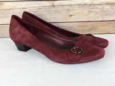 """Easy Spirit Women's Size 9 Burgundy Suede Leather """"Korat"""" 1 1/4"""" Low Heel Pumps"""