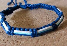 BRACELET BLUE COTTON CORD ADJUST ANKLET FRIENDSHIP WRISTBAND surfer boho hippie