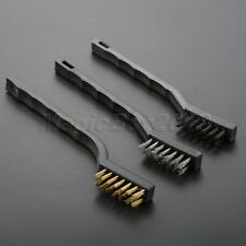 3Pc Edelstahl Messing Nylon Drahtbürste Set Reinigung Detailing Polieren Werkzeug