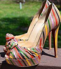 $845 Christian Louboutin Greissimo 140 Prive Damas Platform Striped Heels 5 / 35