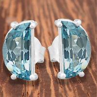 Aquamarine Fancy Shape Stud 925 Sterling Silver Earrings Jewelry DGE1015_D