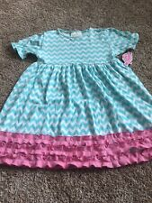 Lolly Wolly Doodle Spring Easter Dress Chevron Aqua Pink sz 8/9 New