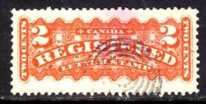CANADA REGISTRATION STAMP #F1d 2c ORANGE, 1875 PERF12x11½, USED