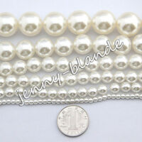 Lots Mixed White Glass Pearl Gemstone Spacer Loose Beads Finding 4/6/8/10/12mm