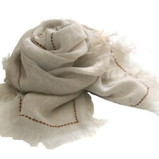 A415 Hand Self fringes 100% Linen Scarf DOT Embroidery stole NEW Natural fiber
