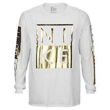 Nike Box White Gold Long Sleeves Shirt Men's Sz XL Extra Large Tee