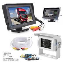 """Kit Retromarcia Monitor 4.3"""" Retrocamera 18 LED HD Cavo 20 MT per Camper Camion"""