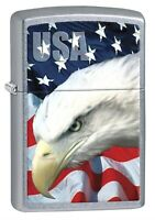 Zippo Lighter: USA Bald Eagle and Flag - Street Chrome 78591