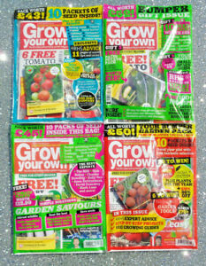 4 x GROW YOUR OWN MAGAZINE BACK ISSUE FROM 2021 ~ NEW SEALED WITH SEEDS  ~
