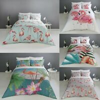 Digital Print Flamingo Duvet Quilt Cover With Pillowcases Bedding Set All Sizes