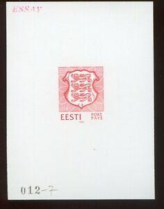 Estonia 1992 012_7 PORT PAYE RARE red COLOR PROOF ESSAY SPECIMEN MNH