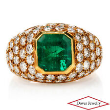 Tiffany & Co. Diamond GIA 5.70ct Green Emerald 18K Cluster Ring 9.9 Grams
