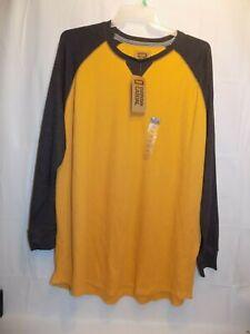 Foundry Big & Tall Thermal Long Sleeve Mens Size 2XL Shirt Gray Yellow NWT $40