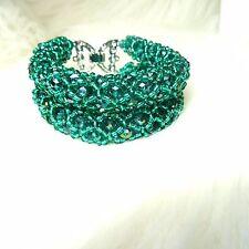 2 strati color foglia di tè verde compensate Personalizzato Braccialetto Bracciale Moda Perline africana
