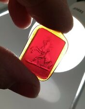 19th C Amber Glass Intaglio Seal - Roman Soldier & Horse   #11  Marley Horse