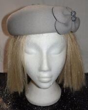 GREY floral felt hat (VH21)