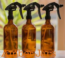3 x 500ml Amber Glass Spray Bottle - Pro Canyon Trigger spray FREE Aluminium Lid