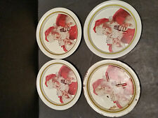 Coca Cola Lot of 4 Tin Santa Coasters - COKE
