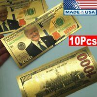10Pcs $1000 President Donald Trump Colorized Dollar Bill Gold Foil Banknote Lot