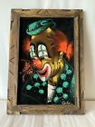 Vintage Velvet Clown Painting Wood Frame Signed  Cosmo Flower Creepy Circus