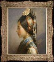"Hand painted Oil painting original Art Portrait Chinese girl on canvas 20""x24"""