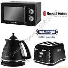 Russell Hobbs Retro Microwave + DeLonghi Brillante Kettle4 Slice Toaster Black