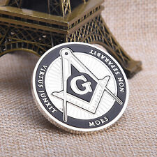 Silver 40mm Freemason Mors Non Separabit Virtus Junxit Commemorative CoinsCraft