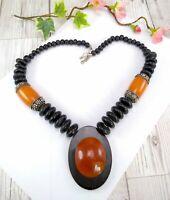 Vintage / Vtg Style Chunky Amber & Black Statement Necklace - Boho Ethnic
