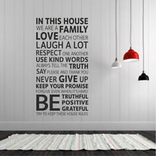 HOUSE RULES Wall Decal Stickers Home room Decor Art Removable (M)