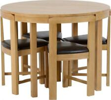 Stowaway Dining Set in Oak Varnish and Brown Faux Leather