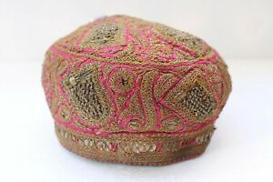 Antique Real Silver Thread Embroidery Rich Muslim Taqiyah Imamah Kufi Cap NH3000
