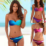 Women Bandeau Padded Swimsuit Push Up Strapless Swimwear Bikini Set Bathing Suit