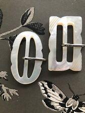 Pair Vintage Mother Of Pearl Shell Carved Belt Buckles Dressmaking British Made