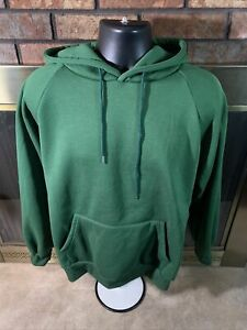 Vintage Hooded Hoodie Sweatshirt Green Raglan VTG USA 1980s Mens Size Large