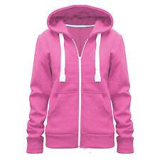 Womens Ladies Plain Hoodie Fleece Sweatshirt Hooded Coat Hoodys Zip Jacket 8-28