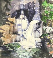 "Original watercolor painting by artist Zina Andresini Poliszuk ""Waterfall"""