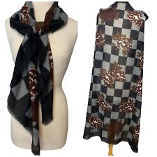 """Italy Scarf Shawl Wrap 45"""" Square Vintage Jp Collections Black Gray Checker"""