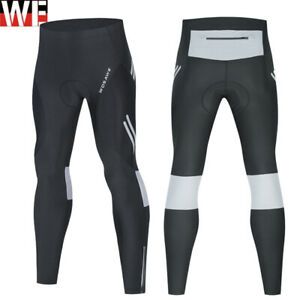 Mens Cycling Tights Compression Trouser Reflective Padded Leggings Long Pants