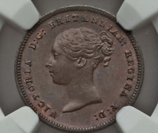 More details for 1843 1/2 half farthing victoria minor coin great britain ms64 bn ngc uk