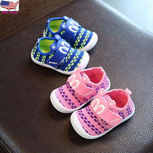 Toddler Kids Baby Boy Girl Cartoon Squeaky Anti-slip Crib Single Shoes Sneakers