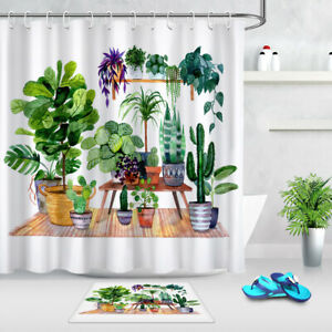 Green Potted Landscape Plant Fabric Shower Curtain Set Bathroom w/12 Hooks 180CM
