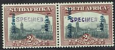 SOUTH WEST AFRICA 1927 UNION BUILDINGS 2D PAIR SPECIMEN NO GUM