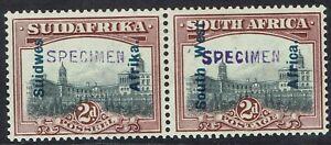 SOUTH WEST AFRICA 1927 UNION BUILDINGS 2D PAIR SPECIMEN NO GUM
