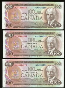 Lot of 3 Consecutive 1975 Bank of Canada $100 *JA Replacement notes