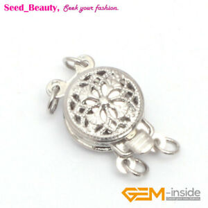 2 Strands Filigree White Gold Plated Clasp for Jewelry Making 9mm 1 Piece