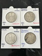 More details for 1951 d, g, f and j silver 5 marks - federal germany