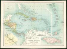 1912 Original Colour Antique Map - CENTRAL AMERICA WEST INDIES JAMAICA  (75)